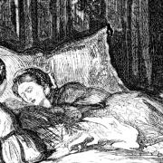 Bild eines Kupferstichs mit einer kranken Frau im Bett und einer daneben sitzenden Frau