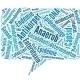 eckige Sprechblase mit blauen Wörtern ausgefüllt