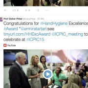 Screenshot of a posting from Prof Didier Pittet congratulates Dr. Michael Borg's Team on winning the Hand Hygiene Excellence Award 2015
