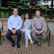 Dr. Judit Pako and colleagues sitting on the park bench